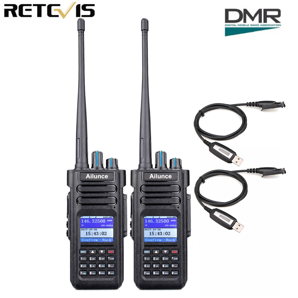 2pcs Retevis Ailunce HD1 Walkie Talkie Dual Band DMR Digital DCDM TDMA VHF UHF Ham Radio Hf Transceiver + Program Cable2pcs Retevis Ailunce HD1 Walkie Talkie Dual Band DMR Digital DCDM TDMA VHF UHF Ham Radio Hf Transceiver + Program Cable