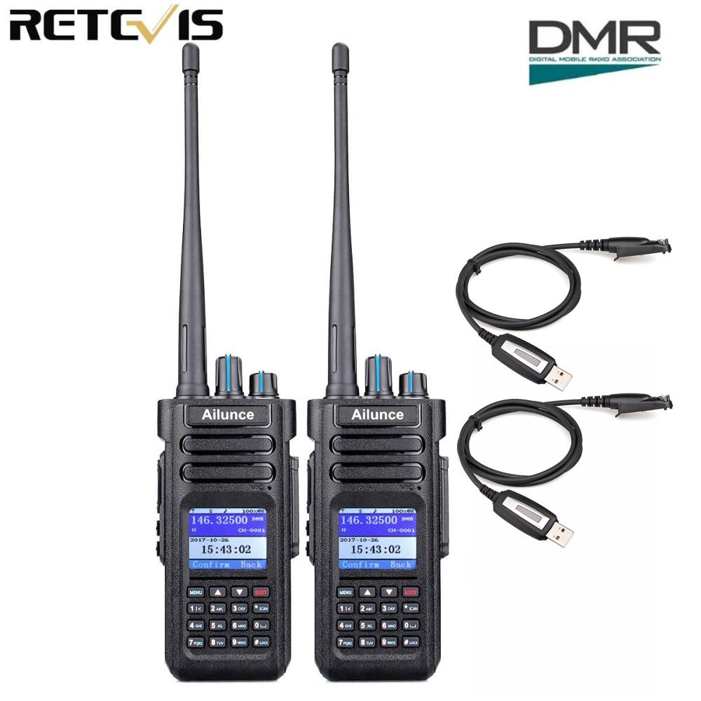 2pcs Retevis Ailunce HD1 Walkie Talkie Dual Band DMR Digital DCDM TDMA VHF UHF Ham Radio Hf Transceiver + Program Cable
