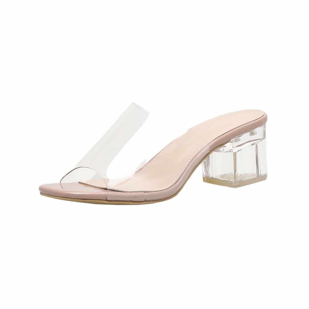 SAGACE ayakkabı moda kare topuklu toka kayış PVC şeffaf Zapatos kadın sandalet 2019 yeni bayan ayakkabıları yaz May20