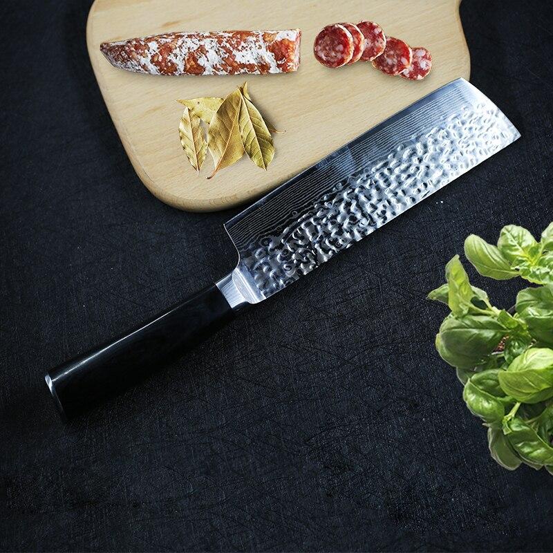 Дамасские кухонные ножи, японский ножи накири, 7cr17, нержавеющая сталь, шеф-повара, нарезки мясные овощные, кухонный нож