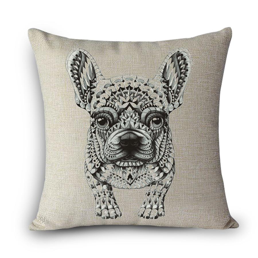 HUG PUG Beagle Creative Dog decorative pillows Cotton Linen seat back Cushion Cover Home Decoration 43cmX43cm Cheap Price MYJ-F7
