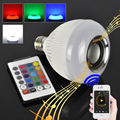 Smart RGBW Wireless Bluetooth Speaker Bulb Music Playing Dimmable 12W E27 LED Bulb Light Lamp with 24 Keys Remote Control