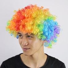 2017 New Halloween Christmas Hats Costume Hair Wig Football Fan Clown wigs Child Adult Colorful Free Shipping