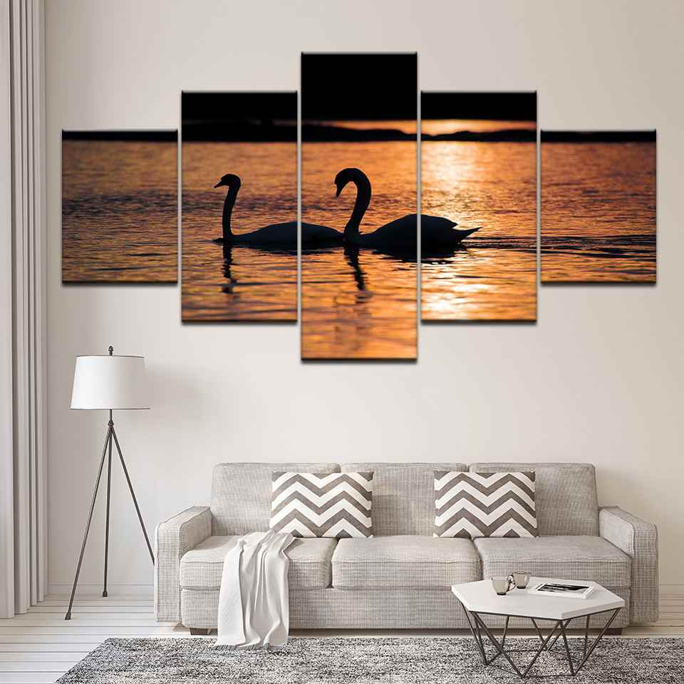 Calligraphy Wall Art Framework Scenery Modular Picture 5 Set Canvas Poster Animal Swan River Kids Room Home Decor Print Painting