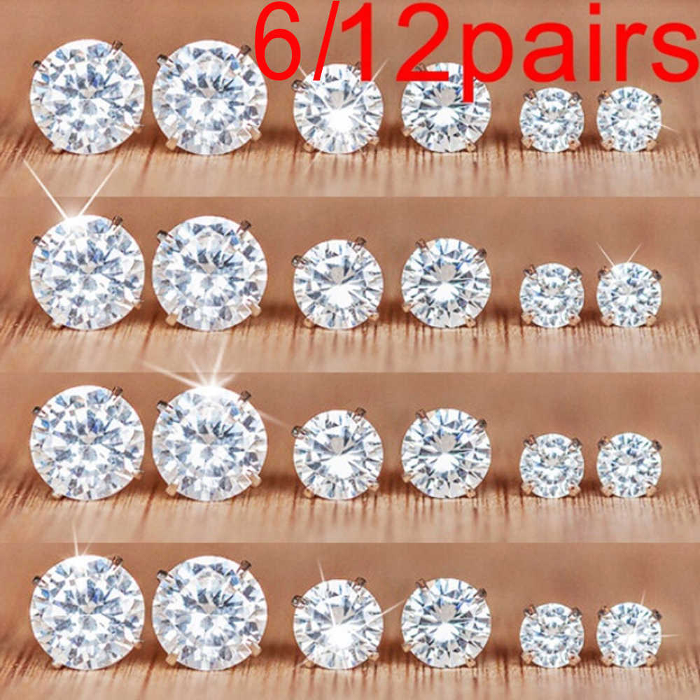 6/12 Pairs Simple Exquisite Geometric Crystal Elegant Wedding Stud Earrings Set Women Alloy Round Zircon Earring Sets Jewelry