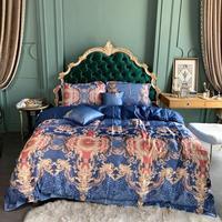 80 шт. ткани Ice silk постельное белье набор парча кровать роскошная простыня queen King size пододеяльник набор постельного белья 6 шт.