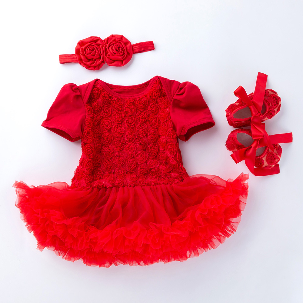 9a37c0d927d7a Newborn Kids Toddler Infant Girls Summer Cotton Tutu Dress Headband+Shoes  Suit Bebe Clothes Baby Girl First Birthday Outfit