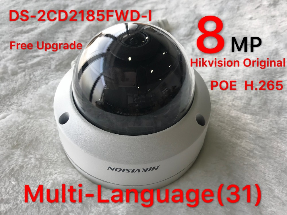 Hikvision 8MP IP Camera DS-2CD2185FWD-I Network Dome Camera H.265 High Resolution CCTV Camera with SD Card Slot IP67 hikvision hik h 265 original international surveillance camera ds 2cd2185fwd i 8mp dome cctv ip camera ip67 ik10 poe 1080p onvif