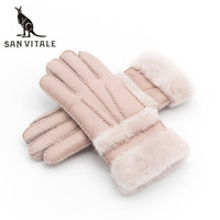 Gloves Women S Mitten Winter Warm Fur Leather Thick Fashion Glove Sheepskin Casual Wool Clothing Accessories