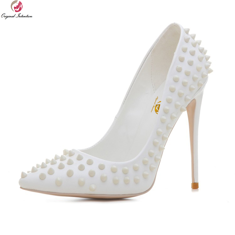 Original Intention New Stylish Women Pumps Nice Rivets Pointed Toe Thin High Heels Pumps White Shoes Woman Plus US Size 3-10.5
