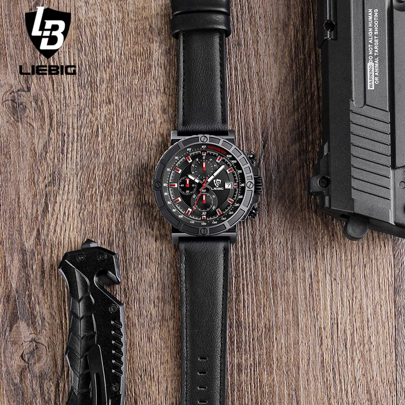 LIEBIG Men Fashion Military Watch Leather Band Sports Watches Waterproof Luxury Brand Quartz Wristwatches Male Relogio Masculino 2017 new luxury brand men sports watches fashion business quartz watch male leather strap military army waterproof wristwatches
