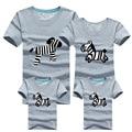 2016 Новый летний Семья Соответствующие Наряды мода большой ребенок семья Футболки повседневная зебра шаблон с коротким для папа мун дочь сын