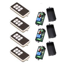 A B C Key Square AC110V 220V 1CH RF Wireless Remote Control Switch System 4Transmitter and 3Receiver 315/433MHZ Free Shipping