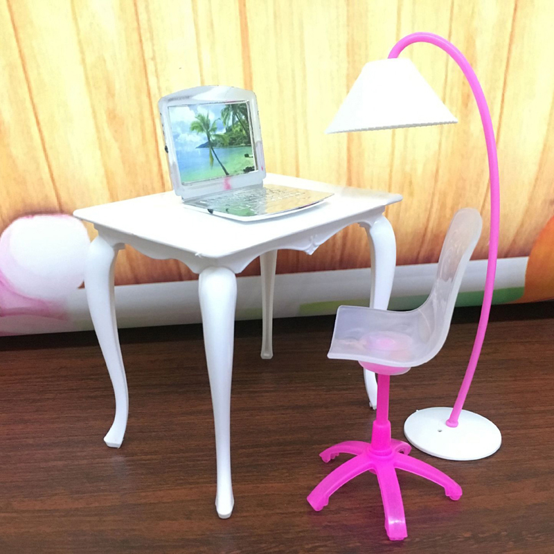 4pcs/Set Mini Doll Furniture Toy Set Desk Lamp Laptop Computer Chair Doll House Accessories For Doll Kids Girls Play House Toys