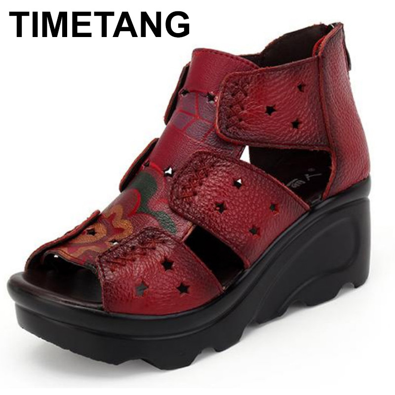 TIMETANG Women Sandals Genuine Leather Casual Women Shoes Fashion Mother Shoes Wedges Sandals Ladies Shoes Summer Sandals mvvjke summer women shoes woman genuine leather flat sandals casual open toe sandals women sandals