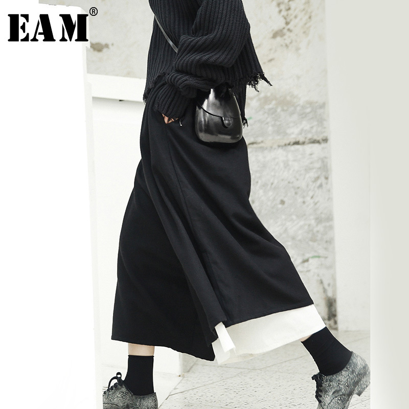 [EAM] 2019 New Spring High Waist Black Loose Drawstring White Stitch Loose   Wide     Leg     Pants   Women Trousers Fashion JI517