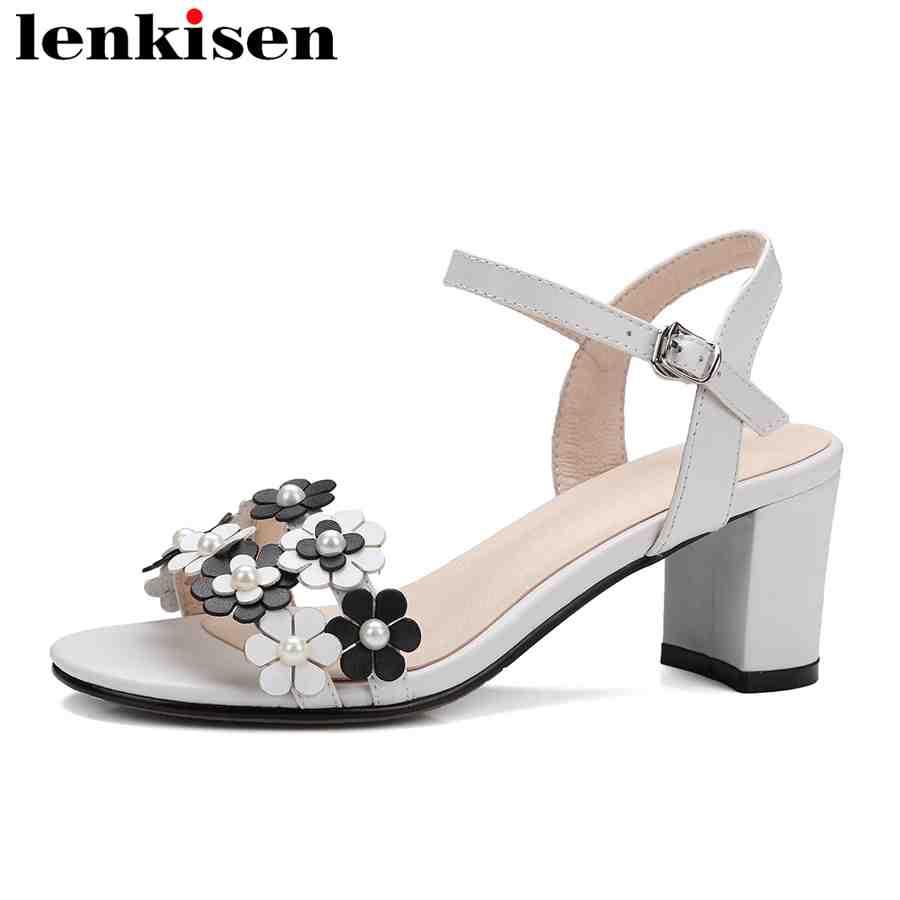 Lenkisen large size cow leather peep toe flowers pearls med heels buckle strap Literary girl runway sweet women lady sandals L15