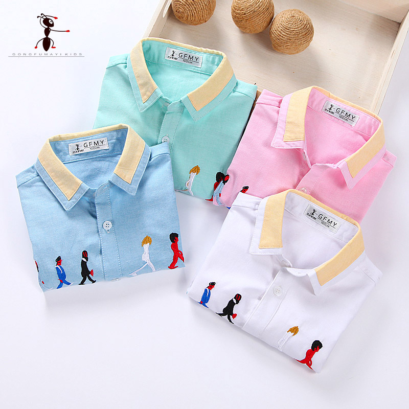 Kung Fu Ant 2017 Embroidery Short Sleeve Character Casual Turn-down Collar Shirts for Boys Summer Casual Blouses 2204 casual stripe spliced turn down collar short sleeve t shirt for men