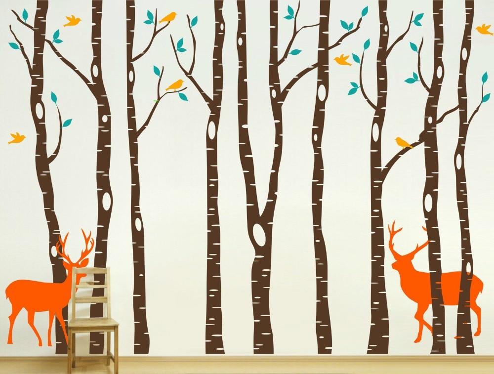 где купить Vinyl Tree Wall Decals 260x360cm Reindeer Tree Forest Birds Wall Stickers Decal Art Nursery Decor Wallpaper for kids Room по лучшей цене
