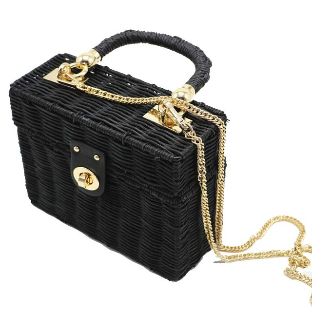 Hot Handbag Box Straw Bags Circle Rattan Bag Black Beach Women Bohemian Bali Summer 2018 New Market Crossbody