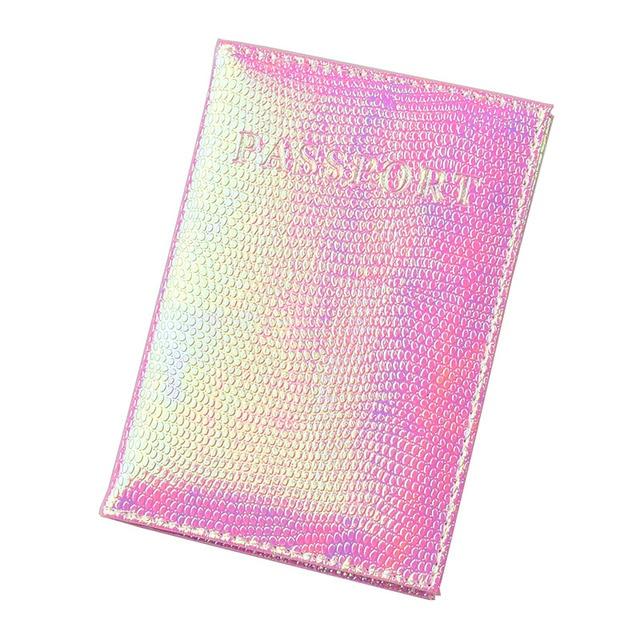 DIKEDAKU блестящие из искусственной кожи Обложка для паспорта для женщин Дорожная карта билет чехол держатель для паспорта милые английские слова обложки для паспорта