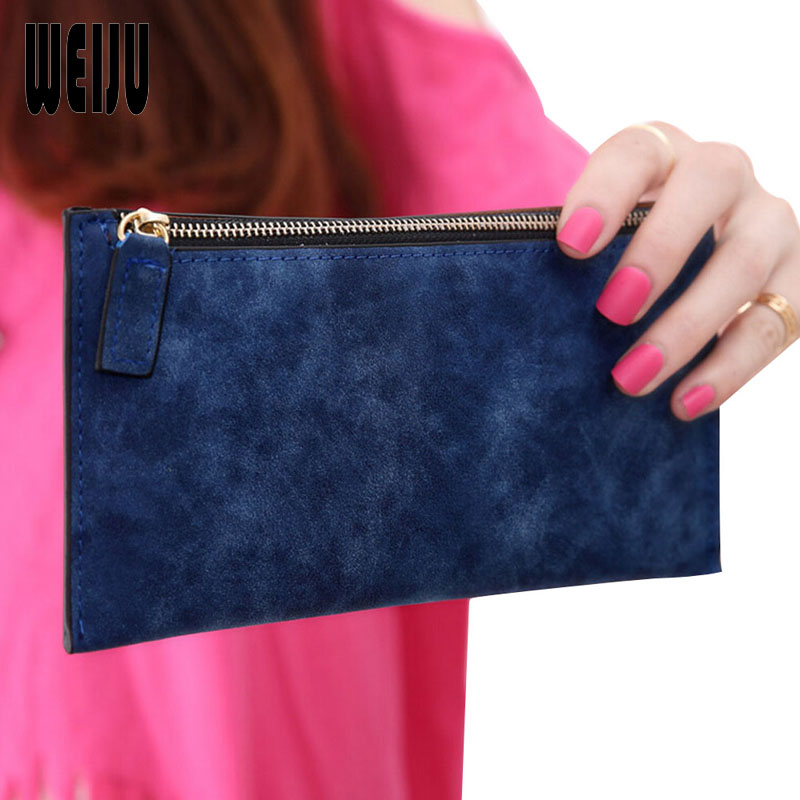 WEIJU 2017 New Fashion Vintage Women Wallets Dull Polish Pu Leather Long Zip Wallet Wristlet Casual Simple Purse Female YA0437 2017 hot sale women wallets dull polish wallet double day clutch purse wristlet portefeuille handbags m0027