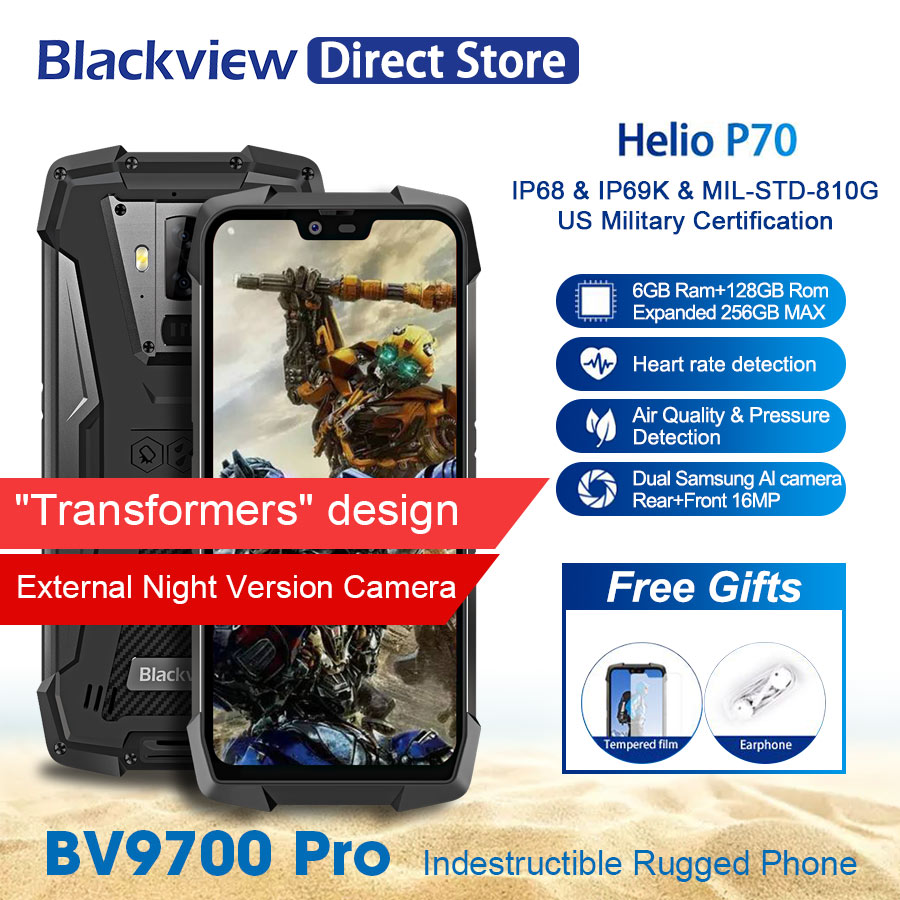Blackview BV9700 Pro IP69 Waterproof Mobile Phone Helio P70 6GB+128GB 4380mAh Android 9.0 Night Vision Dual Camera Smartphone-in Cellphones from Cellphones & Telecommunications    1