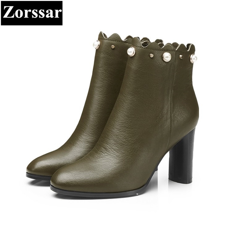 {Zorssar} 2018 Large size Women Boots Thick heel pointed Toe High heels ankle Riding boots fashion leather womens shoes winter free shipping fashion dress women s spike heels high heel round toe fleece ankle boots large size us 4 19