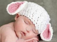 Cute Pure White Cartoon Rabbit Ear Infant Baby Boys Girls Crochet Handmade Knitted Hat Photography Props