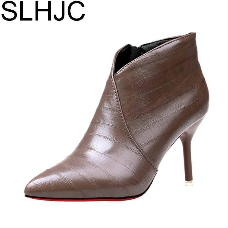 SLHJC 2017 Autumn Winter High Heels Boots Pointed Toe Red Bottom Sexy Thin Heel Pumps Shoes 9 CM Ankle Short Design Boot D10