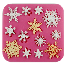ФОТО   many snowflake cooking tools fondant DIY cake silicone moulds chocolate baking decoration candy Resin craft