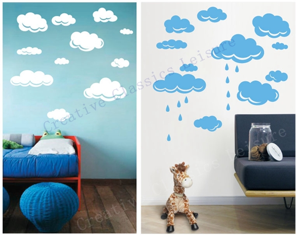 Free Shipping Rain Drops Clouds Vinyl Wall Decal Stickers