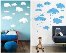 Kostenloser versand Regen Tropfen Wolken Vinyl Wandtattoo Aufkleber Für Kinderzimmer Wandkunst Dekor, weiß oder sky blue wolken