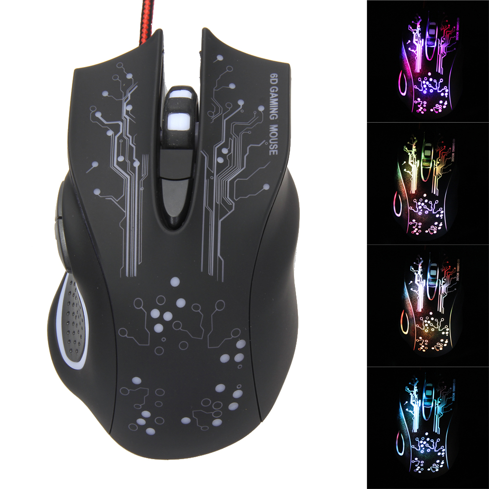 Optical Gaming Mouse Professional 3200DPI Adjustable 6 Buttons 6D Pro PC Computer Mice USB Wired LED Light Mouse Gamer Black fc 5150 usb wired 800 1600 2400 3200dpi optical gaming mouse black
