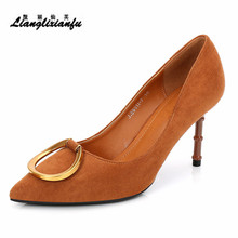 LLXF Plus:34-39 Fashion wedding/Dress shoes woman 8cm Thin Heel Ladies Pointed Toe Suede OL work pumps Metal Buckle Stiletto