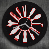 Barber Shop LED Business Sign Hairstylist Barber Tools LED Neon Wall Clock Color Changes Modern Wall