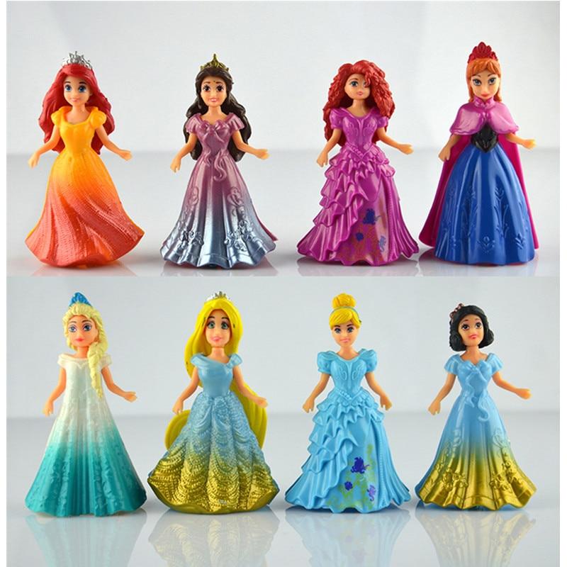 US $10 12 20% OFF|Disney 8pcs/set Magic Clip Dolls Dress Magiclip Princess  Figurines Statue Snow White Elsa Anna PVC Action Figures Kids Best Toys-in
