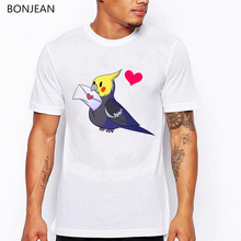2019 summer funny tshirt men Cockatiel with a letter cartoon print tee shirt homme love heart t-shirt white puls sized t