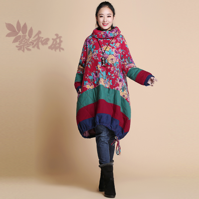 LYNETTE'S CHINOISERIE Winter Women National Trend Floral Print Patchwork Plus Size Loose Pullover Cotton-padded Jacket Outerwear