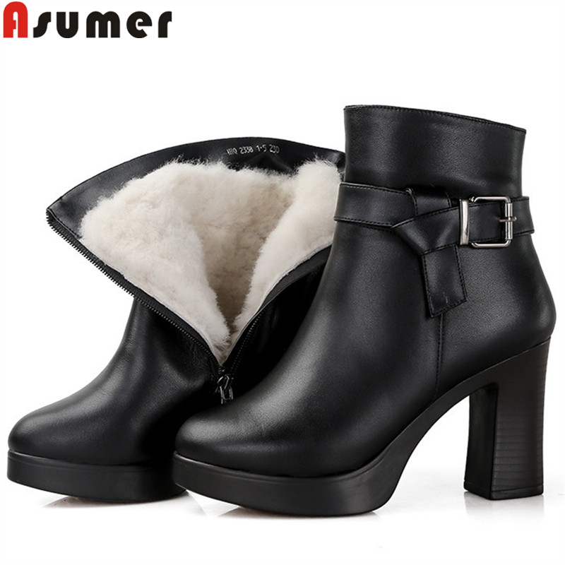 все цены на ASUMER black fashion ankle boots for women round toe zip genuine leather boots thick high heels ladies winter snow boots wool