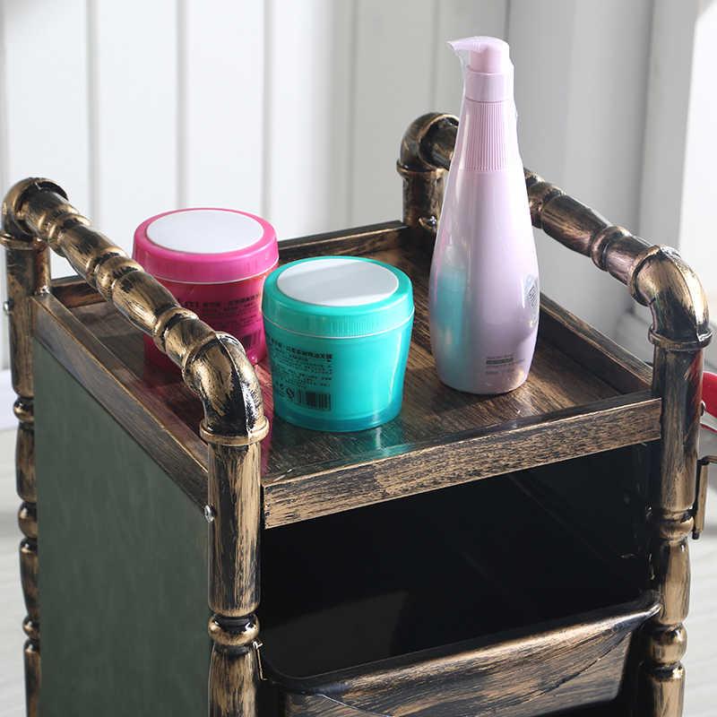 Retro güzellik Salonu saç arabası kuaför Berber Dükkanı sıcak boyama alet arabası soyunma raf