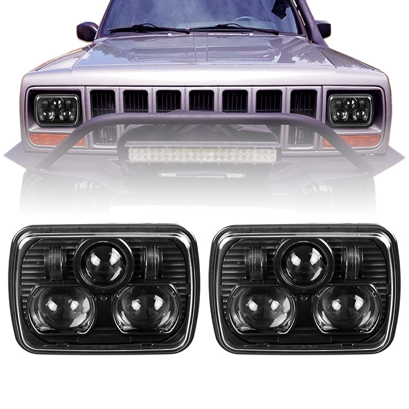 A Pair 5x7 Auto Square Led Headlamp Lled Truck 35W/65W High Low Beam Led Headlight For Jeep Cherokee XJ Trucks