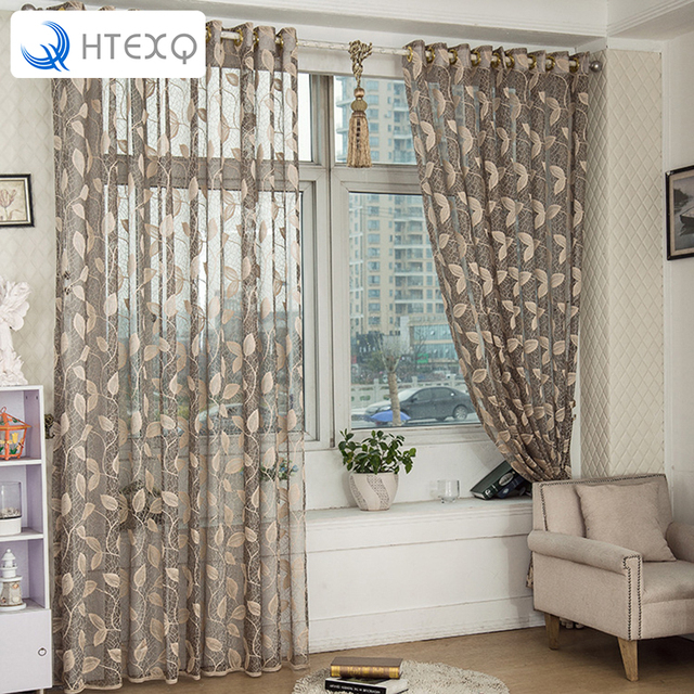 Modern Floral Print Curtains Window Transparent Voile Curtains Curtain  Fabric Style Window Curtain For Balcony Or