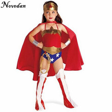 Cosplay Wonder Woman Costume Kids Girls Baby Party Halloween Super Heroes Costumes Dress With Headband Bracelet