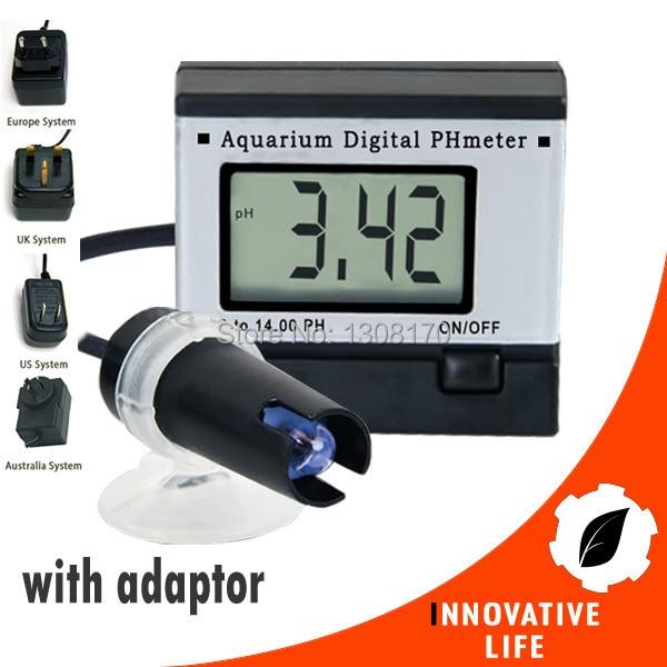 0.00~14.00pH Digital pH Meter Tester Monitor Hydroponics Aquarium with 1M Cable + Adaptor + FREE 2 Buffer Solutions free shipping mini ph meter monitor aquarium