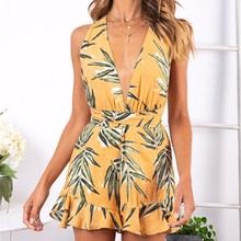 2019 Summer New Bodysuit women Sexy Loose Sleeveless Mini Jumpsuit Casual Tropical Print Leaf Sling Halter Jumpsuit tropical print metal ring halter top