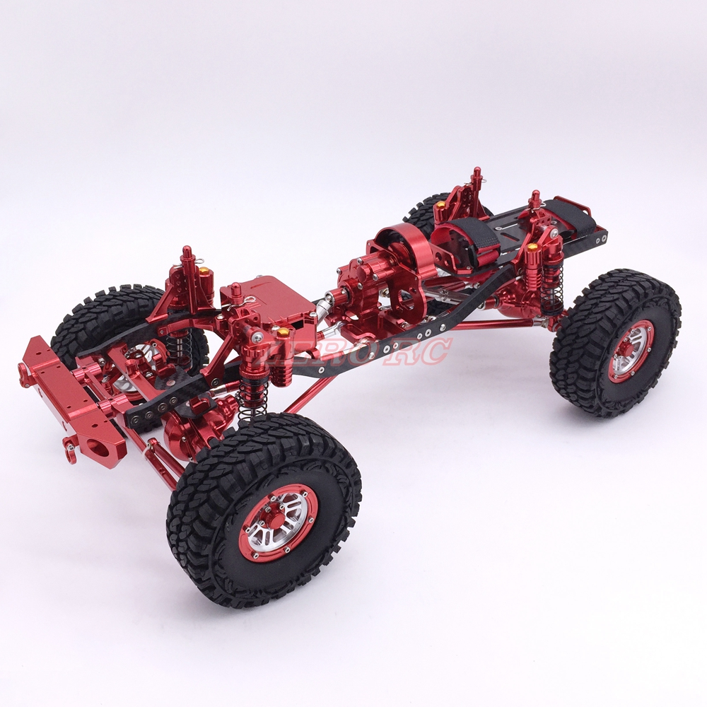 Cool Racing 1/10 Rc Rock Crawler Car CNC METAL Axial SCX10 Chassis With Carbon Frame Wheelbase 313mm RED-in Parts & Accessories from Toys & Hobbies    1