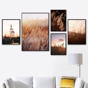 Image 2 - 농장 공장 밀 잎 풍경 따옴표 벽 아트 캔버스 회화 북유럽 포스터와 인쇄 벽 장식 거실 장식
