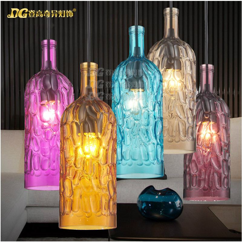 American Industrial Retro Colorful Glass Bottle Chandelier Wine Bottle Bar Light Coffee Shop Light Free Shipping