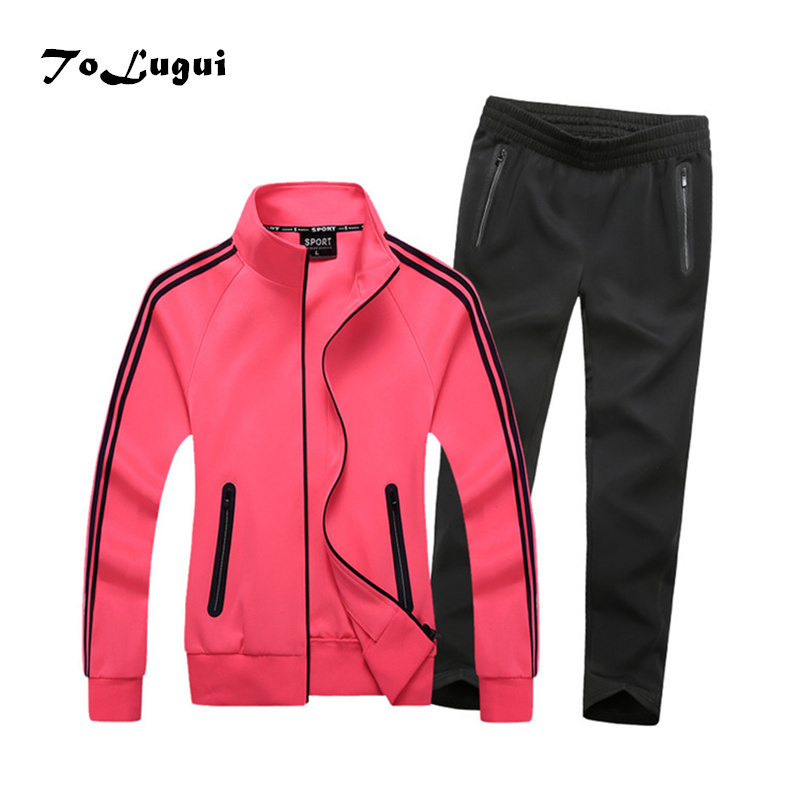 Women Sets 2019 Spring Autumn Ladies High Quality Casual Sweatshirt+Pants Two Piece Set Women Sportwear Stripe Woman Suit